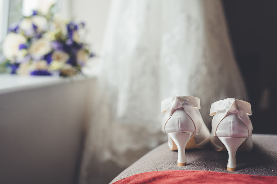 wedding shoes with white ribbon